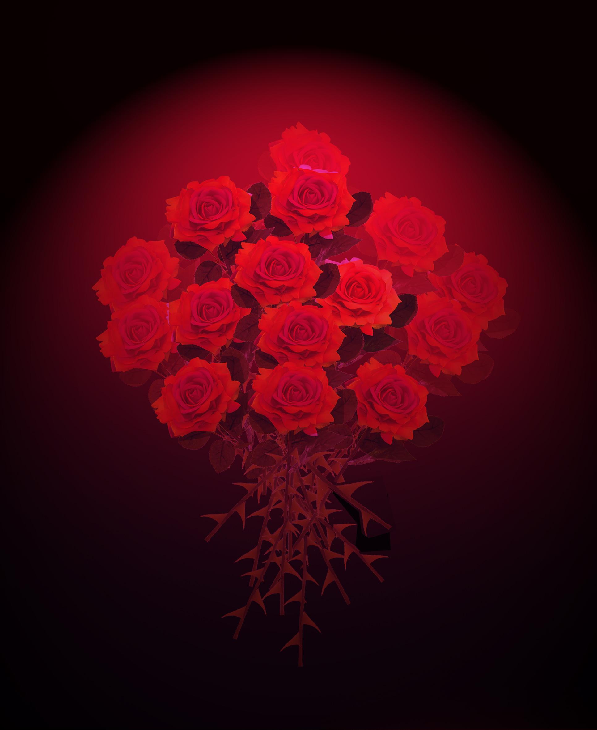 peinture de roses rouges