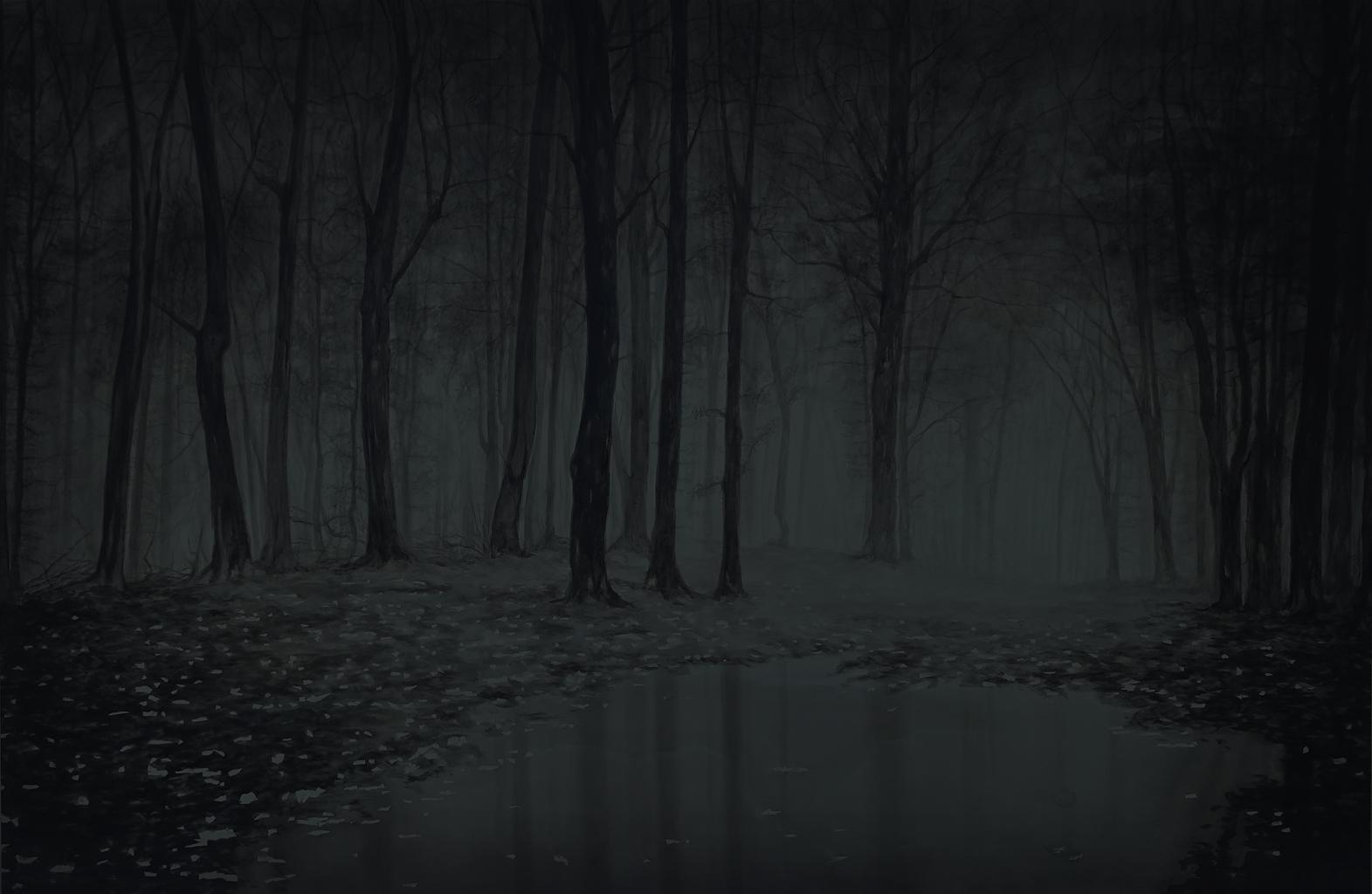 peinture de forêt de nuit